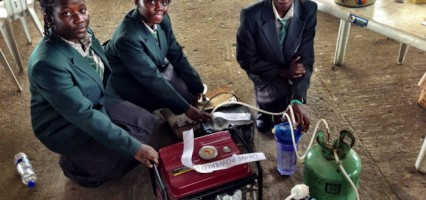 Four Nigerian school girls invent urine powered generator.