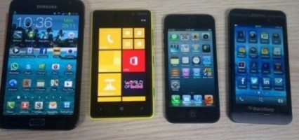 BB10 L-series pictured besides a Galaxy Note 2, iPhone 5 and Lumia 820