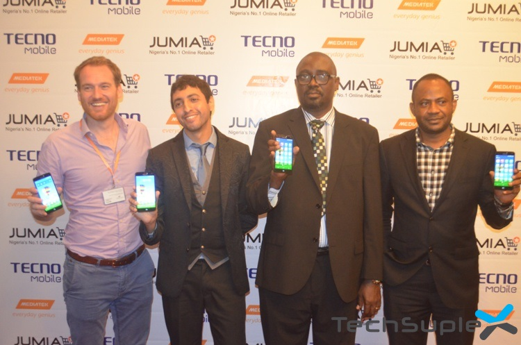 The Managing Director, Marketing, Jumia Nigeria, Jonathan Doerr; Head of Public Relations, TRANSSION Holdings, Mounir Boukali; Head of Enforcement Unit, National Communications Commissions, Mr. Efosa Idehen and Deputy General Manager, TECNO Mobile, Mr. Chidi Okonkwo holding the TECNO Phantom Z during the unveiling at Sheraton Hotel