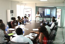 Infinix HOT 3 Press briefing by Communications manager Olamide Amosu